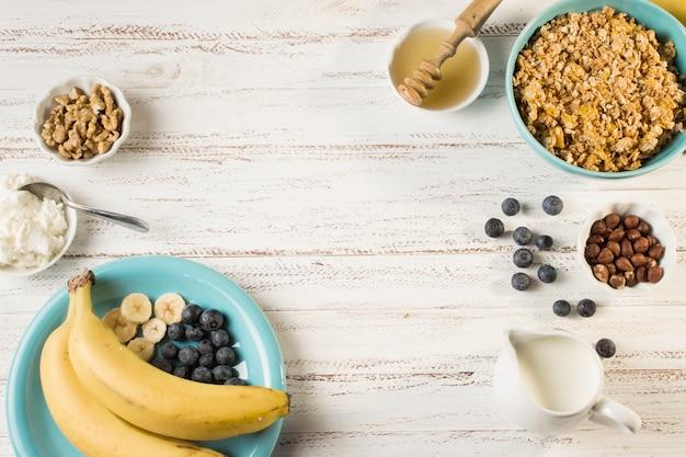 Vista superior desayuno sano