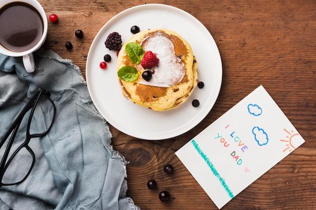 Vista superior desayuno sorpresa
