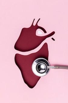 Vista superior del día del corazón con estetoscopio médico