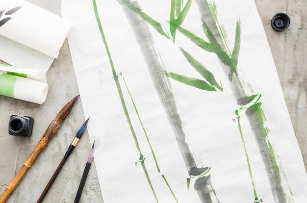 Vista superior dibujo de bambú de tinta