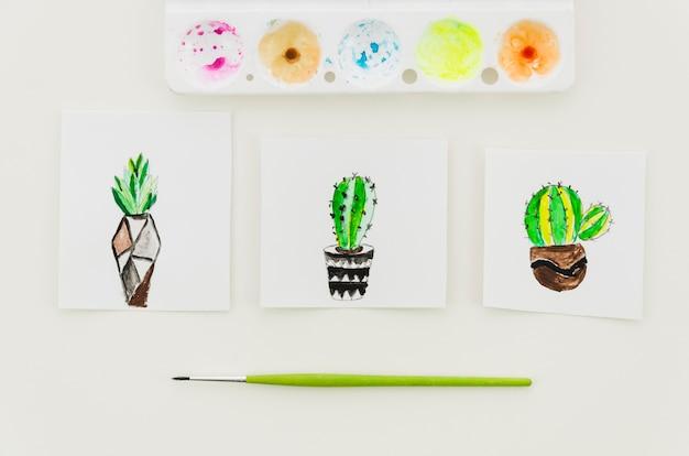 Vista superior dibujos de cactus acuarela