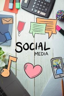 Vista superior de dibujos de medios sociales