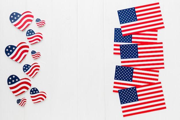 Vista superior de diferentes banderas americanas