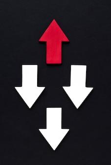 Vista superior de diferentes flechas