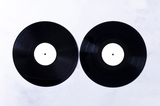 Vista superior de discos vinilo