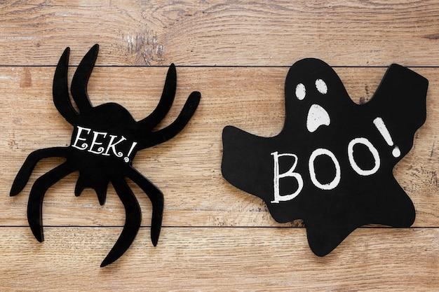 Vista superior elementos de halloween de miedo
