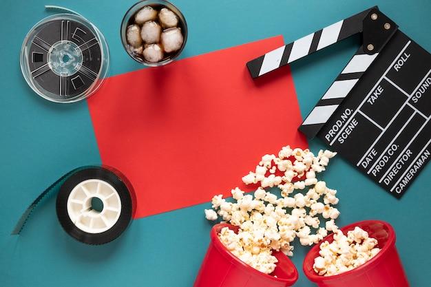 Vista superior de los elementos de la película.