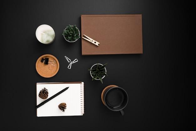 Vista superior del escritorio con agenda y suculentas