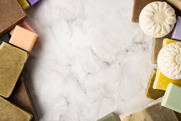 Vista superior del espacio de copia de jabón natural