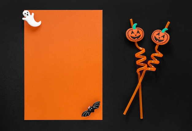 Vista superior espeluznante elementos de halloween