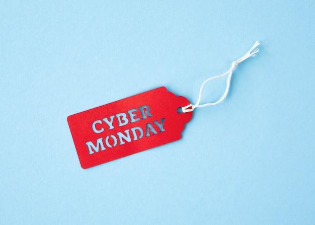 Vista superior de la etiqueta cyber monday