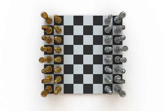Vista superior de figuras de ajedrez en el tablero de juego en el fondo blanco, representación 3d