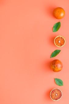 Vista superior fila de naranjas