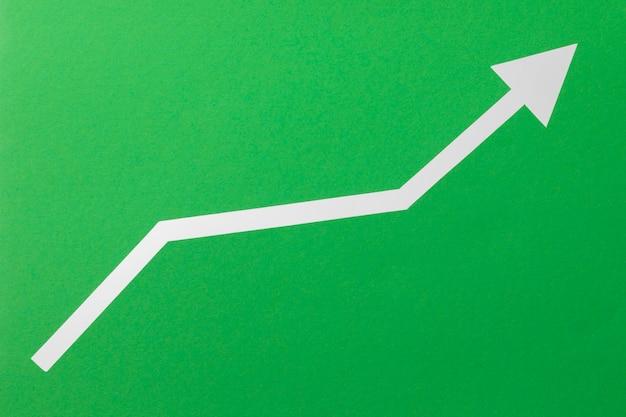 Vista superior flecha economía indicadora