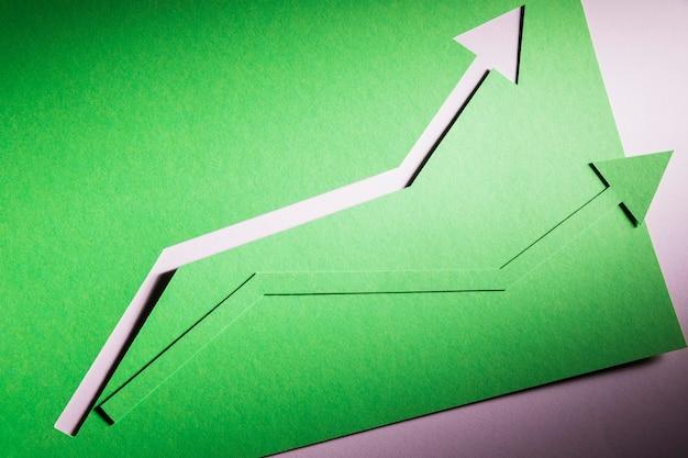 Vista superior flecha que induce el crecimiento de la economía