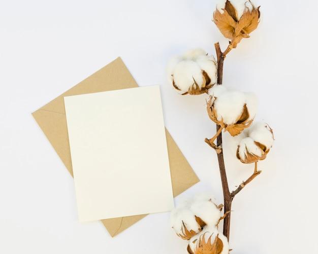 Vista superior de flores de algodón y papel