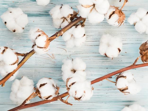 Vista superior de flores de algodón sobre fondo de madera