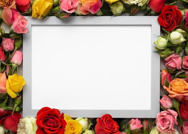 Vista superior de flores de colores con marco en blanco