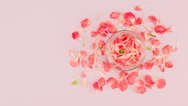 Vista superior flores y pétalos