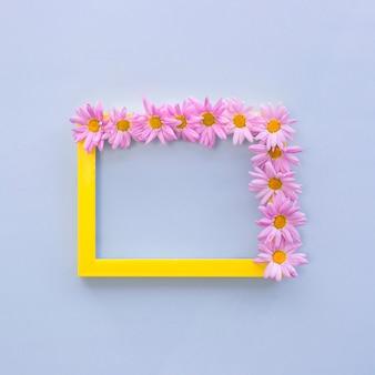 Vista superior de las flores rosadas dispuestas en el marco amarillo de la foto de la frontera sobre fondo azul