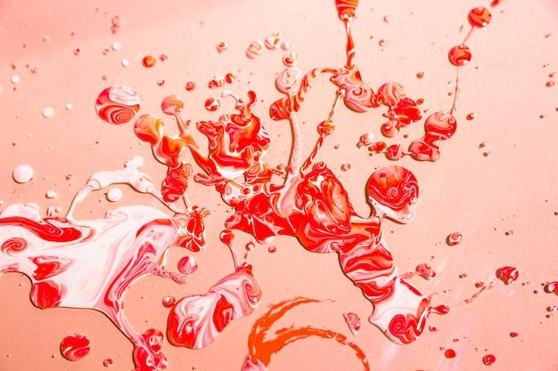 Vista superior fondo de pintura roja y blanca