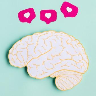 Vista superior de la forma del cerebro de papel