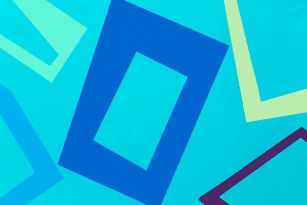 Vista superior formas geométricas coloridas