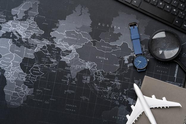 Vista superior de la fotografía de bodegones del concepto de viaje