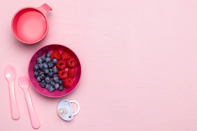 Vista superior de frambuesas y arándanos para alimentos para bebés con espacio de copia