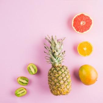 Vista superior frutas tropicales
