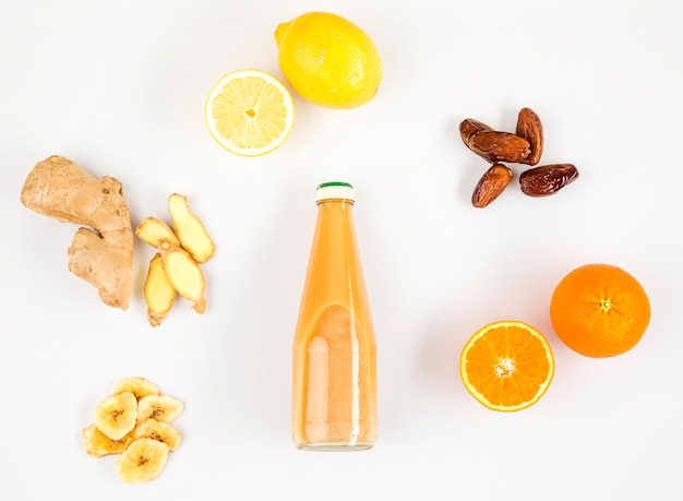 Vista superior frutis para marco de batido