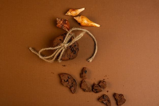 Vista superior de galletas de avena con chispas de chocolate cayendo rotas y conchas en ocre
