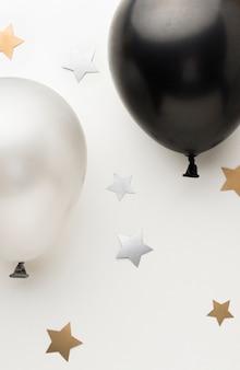 Vista superior globos para fiesta