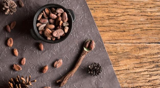 Vista superior de granos de cacao en maceta