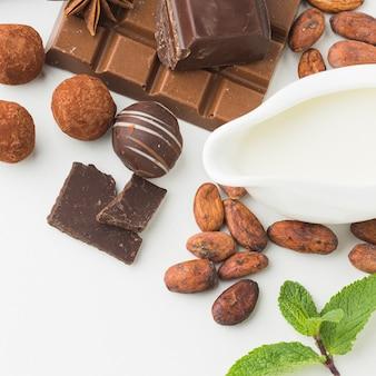 Vista superior de granos de cacao y trufas