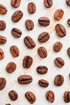 Vista superior granos de café