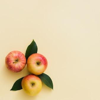 Vista superior grupo de manzanas