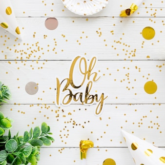 Vista superior del hermoso concepto de baby shower