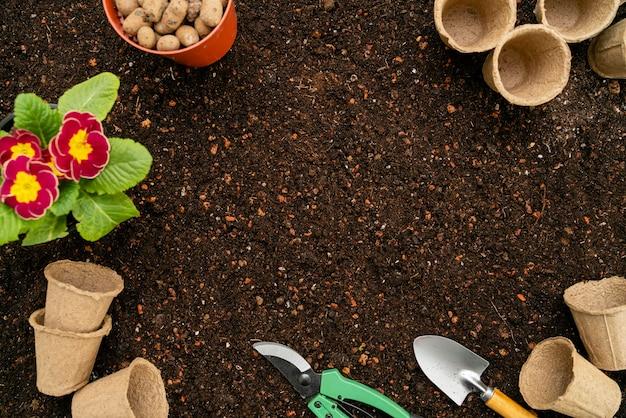 Vista superior de herramientas de jardinería y maceta.