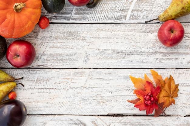 Vista superior de hojas y frutos con espacio de copia