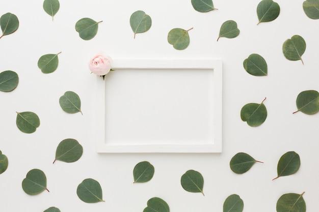 Vista superior de hojas y rosas con marco de espacio de copia