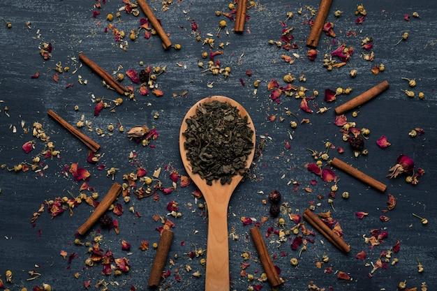 Vista superior de hojas de té verde en cuchara de madera