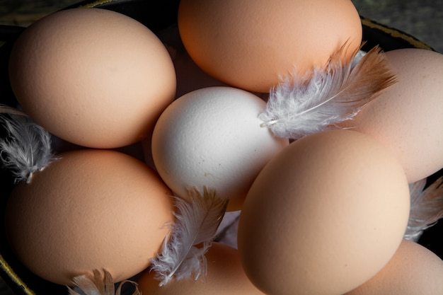 Vista superior de huevos con plumas. horizontal