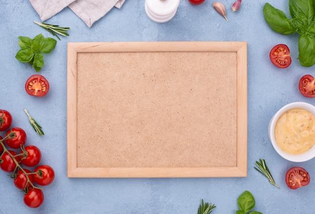 Vista superior de ingredientes y marco