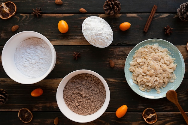 Vista superior de ingredientes para pasteles