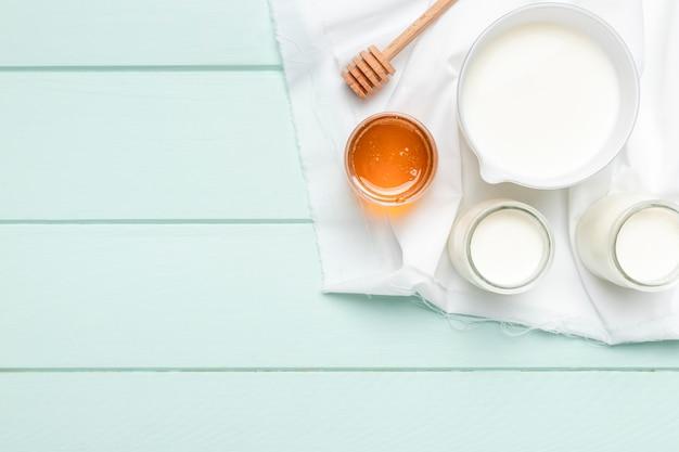 Vista superior ingredientes saludables para el desayuno