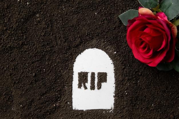 Vista superior de la inscripción rip con suelo oscuro y flor roja