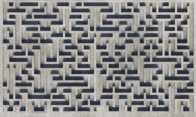 Vista superior de un laberinto de hormigón gris con sombras suaves. representación 3d