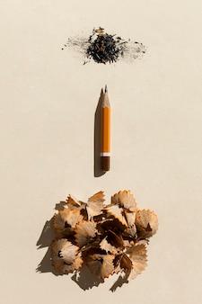 Vista superior lápiz pequeño