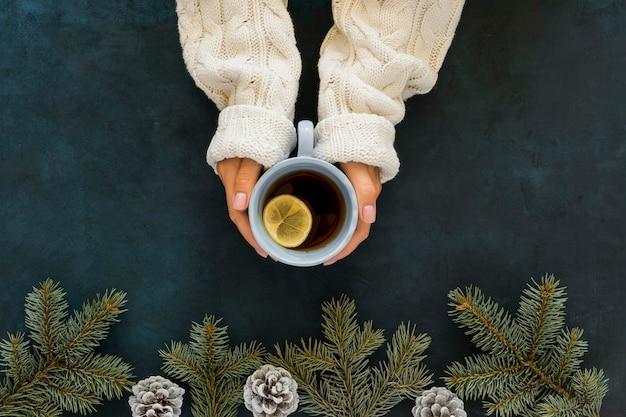Vista superior linda taza de té de invierno y agujas de pino